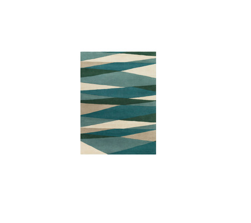 12' x 15' Pyramid Escape Caribbean and Slate Blue Carved Wool Area Throw Rug - IMAGE 1