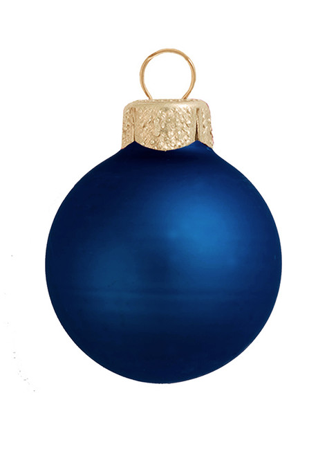 "12ct Midnight Blue Matte Glass Christmas Ball Ornaments 2.75"" (70mm) - IMAGE 1"