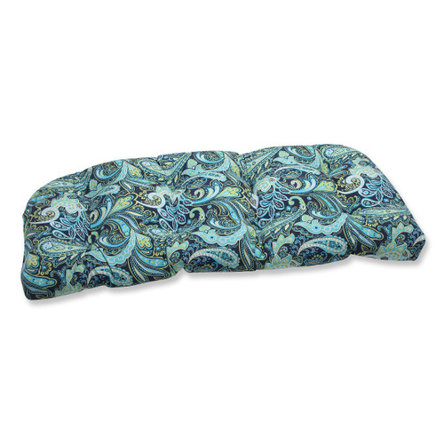 "44"" Blue and Green Paisley Outdoor Patio Tufted Wicker Loveseat Cushion - IMAGE 1"