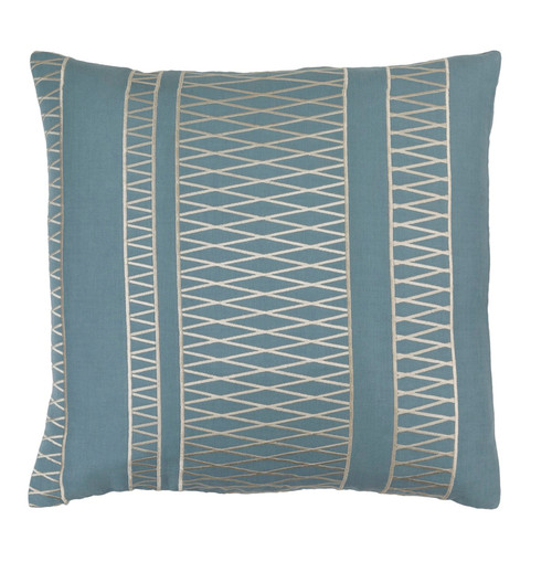 """18"""" Prussian Blue and Ivory Woven Throw Pillow - IMAGE 1"""