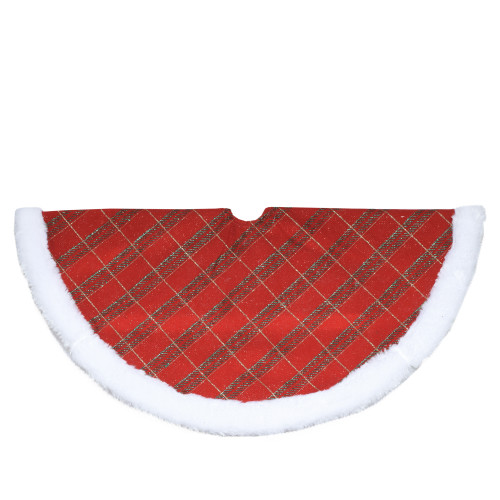 """20"""" Red and Gold Plaid Glittered Mini Christmas Tree Skirt - IMAGE 1"""