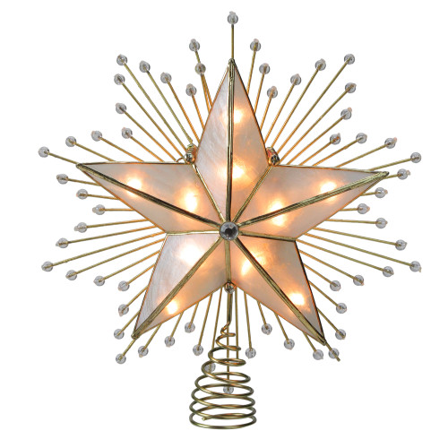 """9"""" Lighted Gold Star with Beaded Sunbursts Christmas Tree Topper- Clear Lights - IMAGE 1"""