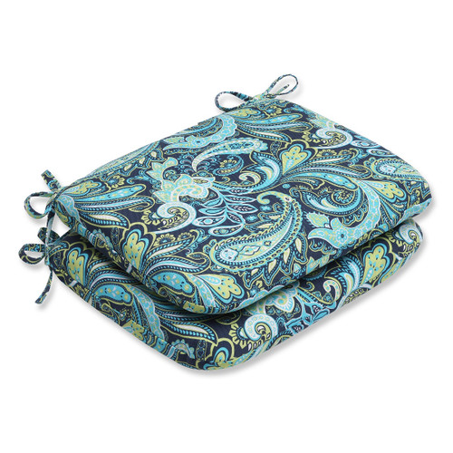"""Set of 2 Blue and Green Paisley Outdoor Patio Rounded Chair Cushions 18.5"""" - IMAGE 1"""