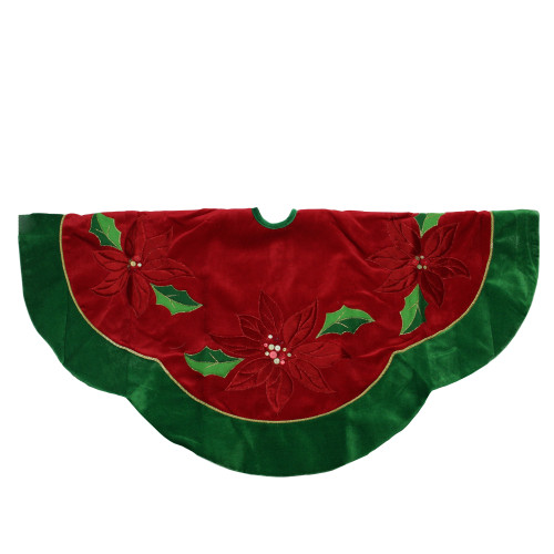 "48"" Red and Green Sequined Poinsettia Christmas Tree Skirt - IMAGE 1"