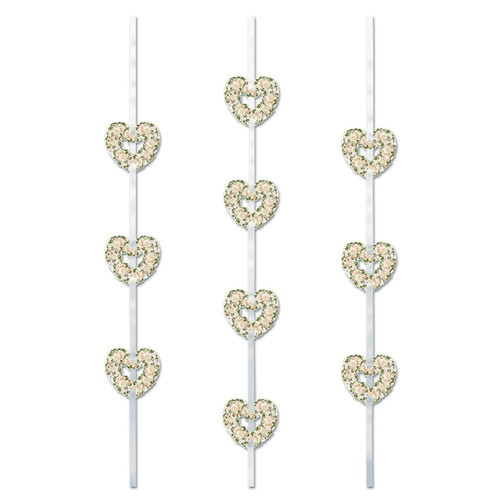 Club Pack of 12 Gold and White Valentine Floral Heart Ribbon Stringer Hanging Silver Party Decors 4' - IMAGE 1