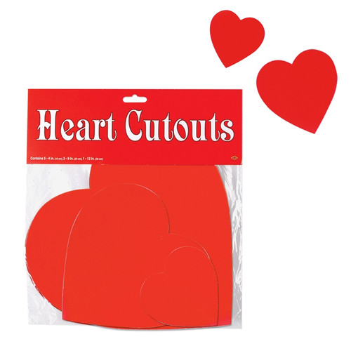"""Club Pack of 216 Red Valentine Heart Cutout Decorations 12"""" - IMAGE 1"""
