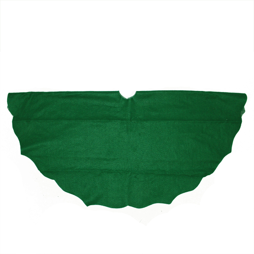 "38"" Pine Green Scalloped Edge Round Christmas Tree Skirt - IMAGE 1"