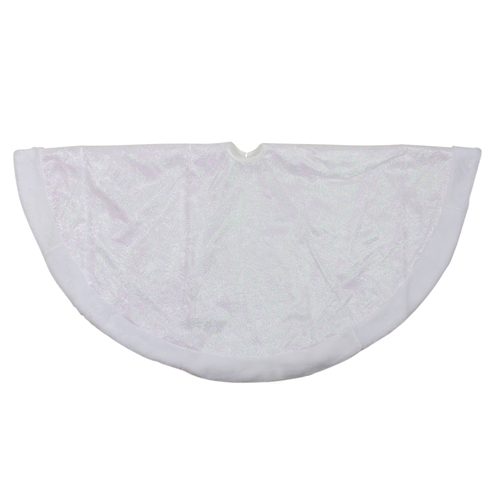 "48"" White Iridescent Glitter Snowflake Christmas Tree Skirt - IMAGE 1"