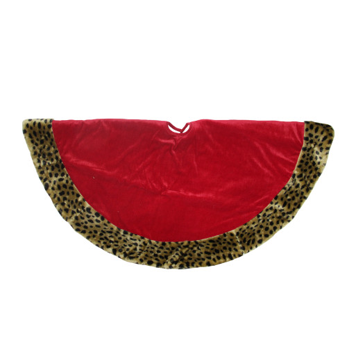 """48"""" Red and Brown Velveteen with Cheetah Print Border Christmas Tree Skirt - IMAGE 1"""