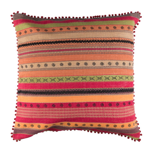 """30"""" Crimson Red and Olive Green Striped Square Throw Pillow - Down Filler - IMAGE 1"""