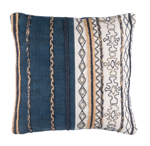 """20"""" Navy Blue and White Embroidered Square Throw Pillow - Down Filler - IMAGE 1"""