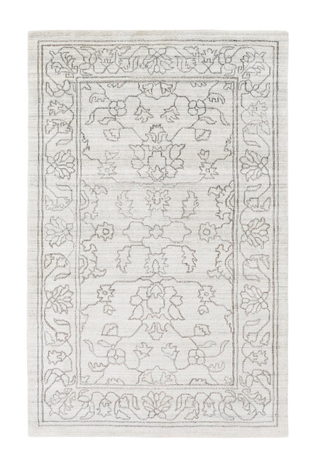 6' x 9' Traditional Ivory and Taupe Gray Hand Knotted Rectangular Area Throw Rug - IMAGE 1