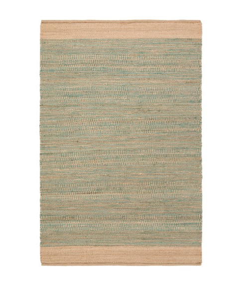 5' x 7.5' Teal Green and Brown Contemporary Hand Woven Rectangular Area Throw Rug - IMAGE 1