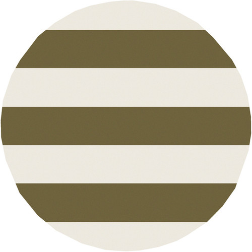 7.75' Bold Stripes Olive Green and Cream White Shed-Free Area Throw Rug - IMAGE 1