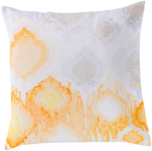 "18"" White and Orange Contemporary Geometric Square Throw Pillow - Down Filler - IMAGE 1"