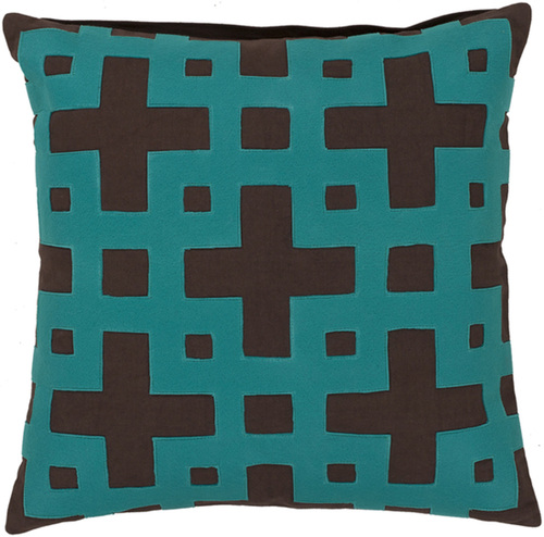"""18"""" Brown and Aruba Blue Contemporary Square Throw Pillow - Down Filler - IMAGE 1"""