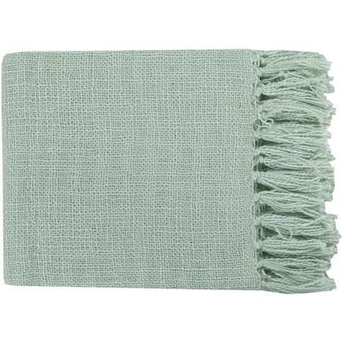 """Mint Green Woven Fringed Throw Blanket 59"""" x 51"""" - IMAGE 1"""