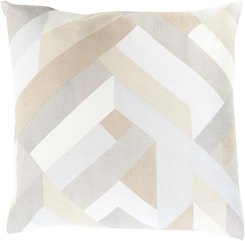 "20"" Gray and White Geometric Contemporary Square Throw Pillow - Down Filler - IMAGE 1"