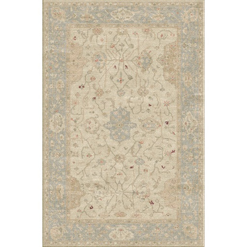 4' x 6' Memory Lane Ivory and Beige Hand Knotted Wool Area Throw Rug - IMAGE 1