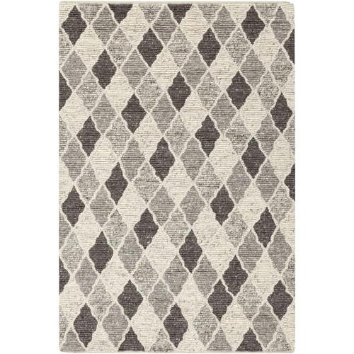 8' x 10' Diamond Renditions White and Gray Rectangular Wool Area Throw Rug - IMAGE 1