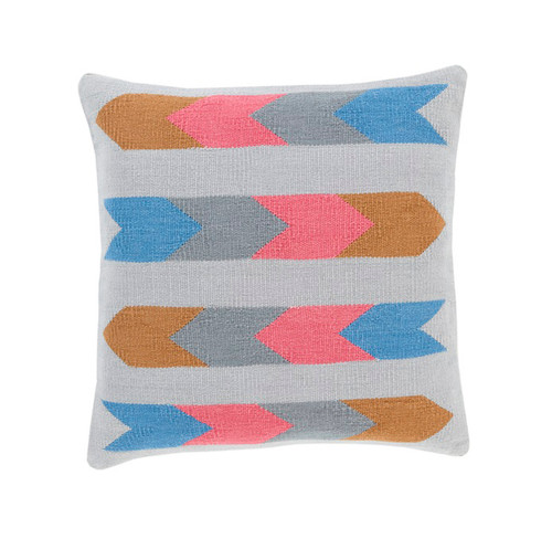 """18"""" Ash Gray and Pink Southwestern Design Woven Square Throw Pillow - IMAGE 1"""