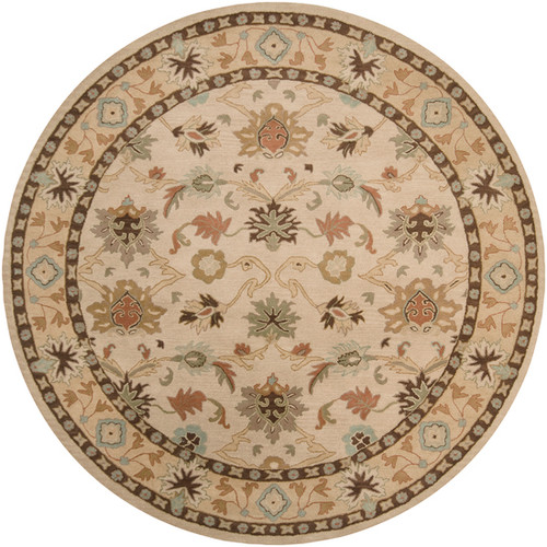 9.75' Beige and Sage Green Floral Hand Tufted Round Area Throw Rug - IMAGE 1