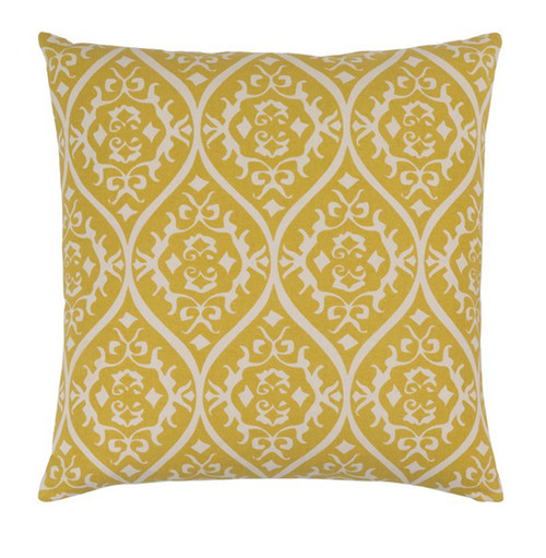 """18"""" Heavenly Hourglass Mustard Yellow and White Decorative Throw Pillow - Polyester Filled - IMAGE 1"""