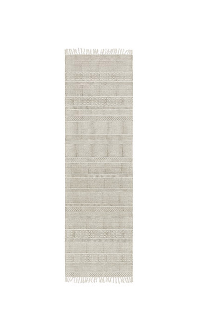 2.5' x 8' Contemporary Taupe Gray and Ivory Hand Woven Fringe Detail Rectangular Area Throw Rug Runner - IMAGE 1