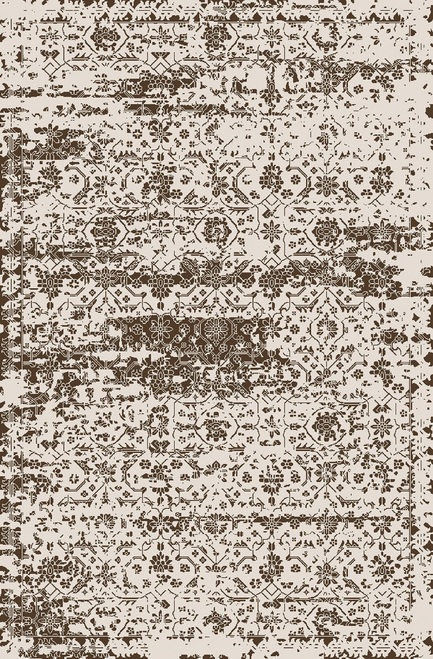 8' x 10' Contemporary Brown and Ivory Hand Loomed Area Throw Rug - IMAGE 1