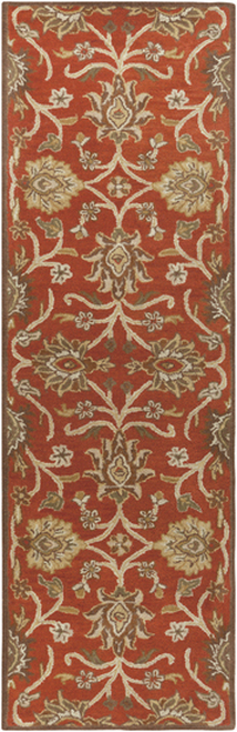 3' x 12' Floral Orange and Beige Hand Tufted Rectangular Wool Area Throw Rug Runner - IMAGE 1