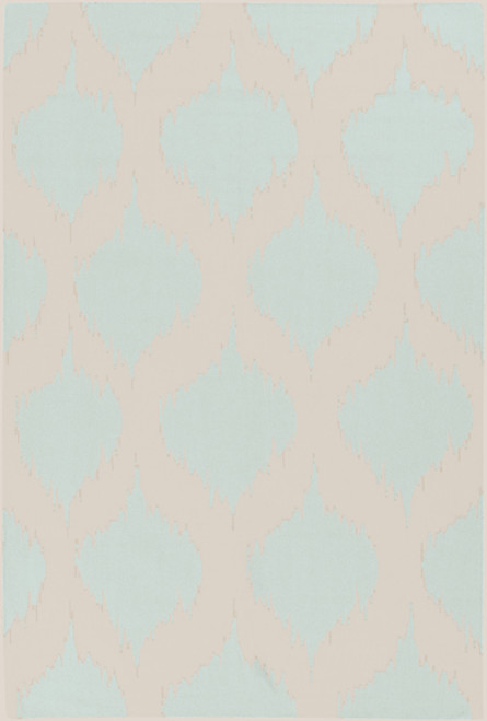 3.5' x 5.5' Bombilla Powder Blue and Beige Hand Woven Rectangular Wool Area Throw Rug - IMAGE 1