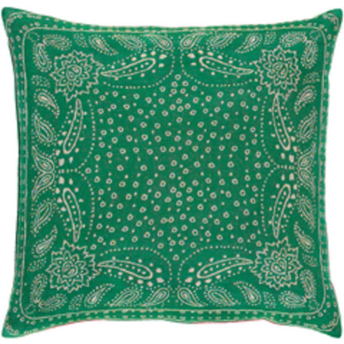 """20"""" Holly Green and Gray Mediterranean Square Throw Pillow - Down Filler - IMAGE 1"""