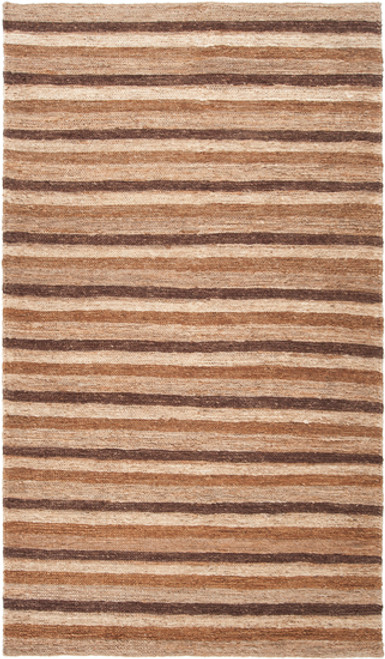 2' x 3' Brown Stripe Pattern Hand Woven Area Throw Rug - IMAGE 1