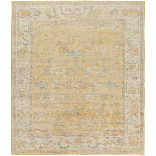 9' x 13' Brown and Gold Hand Knotted Rectangular Wool Area Throw Rug - IMAGE 1