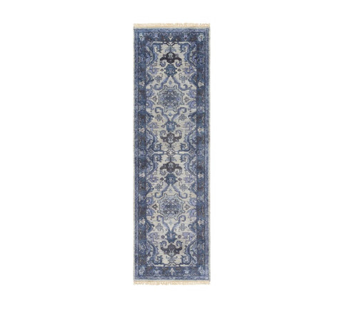 2.5' x 8' Denim Blue and Ivory Rectangular Hand Knotted Wool Area Throw Rug Runner - IMAGE 1