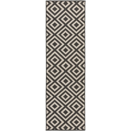 2.25' x 7.75' Black and White Machine Woven Geometric Rectangular Outdoor Area Throw Rug Runner - IMAGE 1