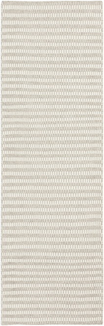 2.5' x 8' Temperate Stripe Gray and White Hand Woven Rectangular Wool Area Throw Rug Runner - IMAGE 1