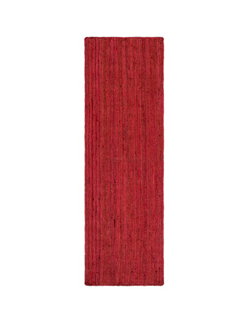 2.5' x 8' Berry Red Hand Woven Reversible Rectangular Area Throw Rug Runner - IMAGE 1