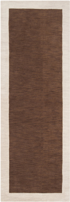2.5' x 8' Simply Neutral Chocolate Brown and Gray Hand Loomed Rectangular Wool Area Throw Rug Runner - IMAGE 1