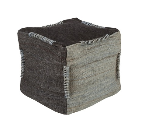 "18"" Black-Gray and Slate Solid Woven Square Pouf Ottoman - IMAGE 1"