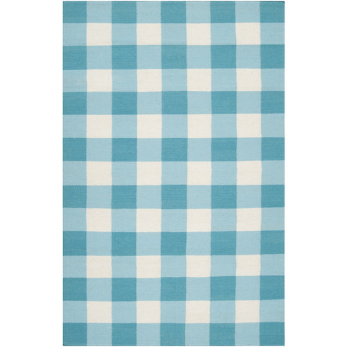 2' x 3' Turquoise Blue and White Plaid Pattern Wool Area Throw Rug - IMAGE 1