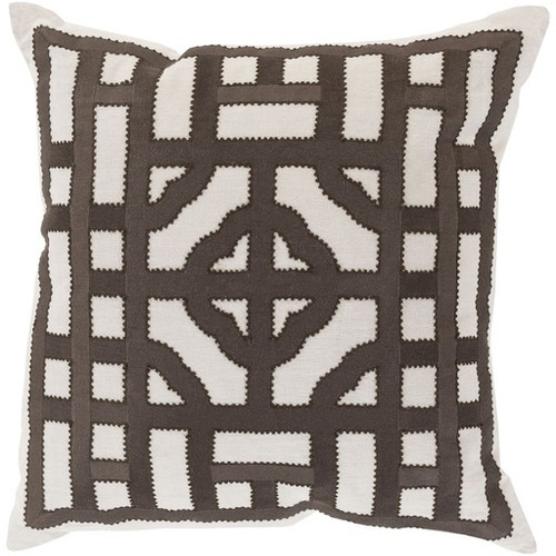 """22"""" Chocolate Brown and Cream White Square Throw Pillow - Down Filler - IMAGE 1"""