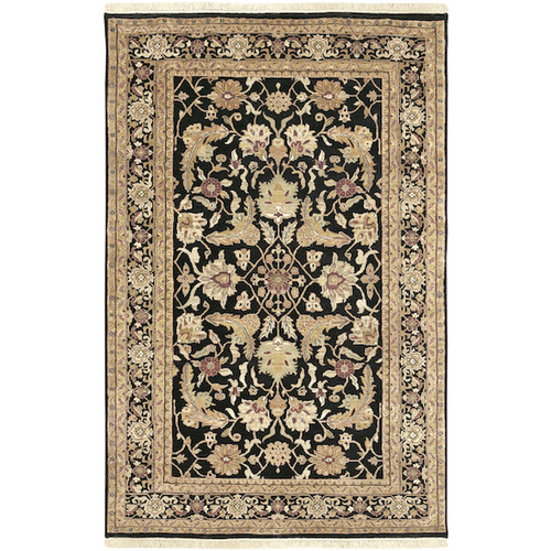 5.5' x 8.5' Floral Black and Beige Hand Knotted Rectangular Wool Area Throw Rug - IMAGE 1