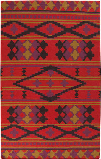 2' x 3' Southwestern Sunset Red and Purple Hand Woven Rectangular Wool Area Throw Rug - IMAGE 1