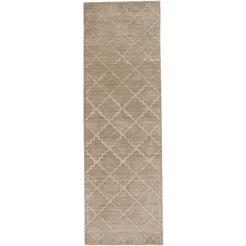 2.5' x 8' Piper Brown Contemporary Hand Loomed Rectangular Wool Area Throw Rug Runner - IMAGE 1