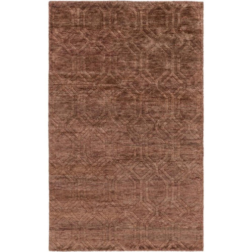 5' x 8' Athenian Boulevard Brick Red and Coconut Brown Area Throw Rug - IMAGE 1