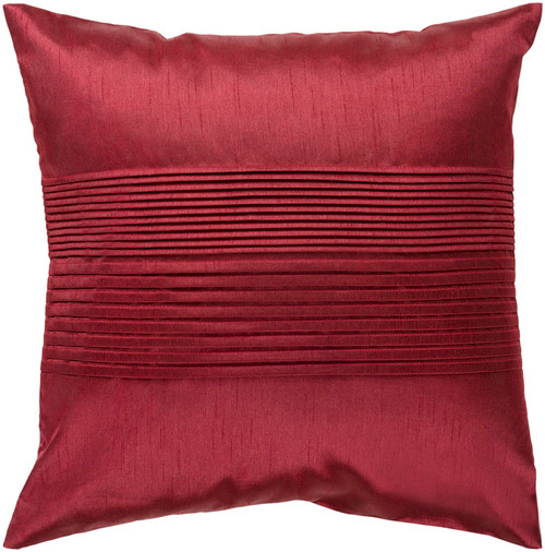 """18"""" Cranberry Red Tuxedo Pleats Decorative Throw Pillow - Polyester Filler - IMAGE 1"""