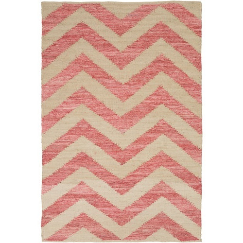 8' x 11' Pink and Gray Contemporary Hand Loomed Rectangular Throw Rug - IMAGE 1