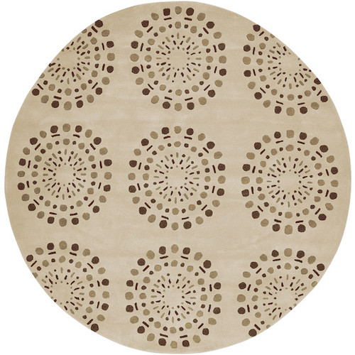 8' Asian Lotus Beige and Brown Round New Zealand Wool Area Throw Rug - IMAGE 1