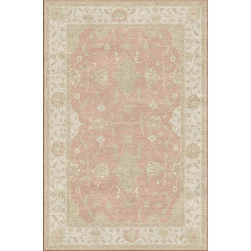 9' x 13' Distant Memories Blush Red and Ivory Hand Knotted Wool Area Throw Rug - IMAGE 1